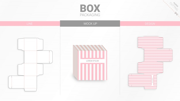 ボックスのパッケージとモックアップのダイカット