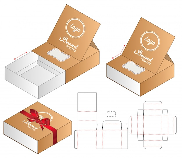 Box packaging die cut template 3d