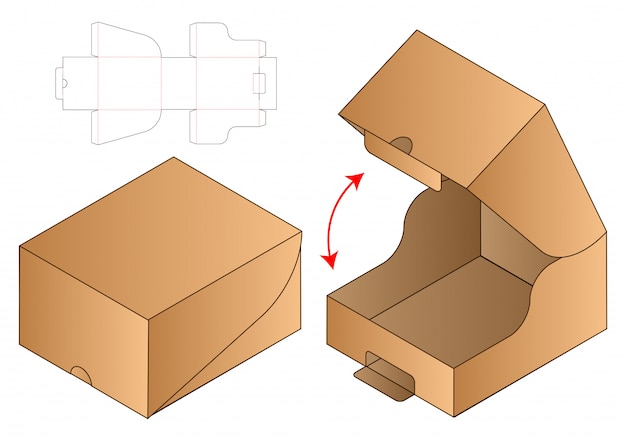 Box packaging die cut template  . 3d