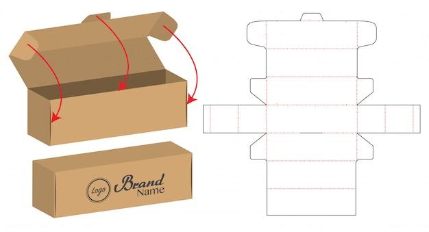상자 포장 다이 컷 템플릿 디자인. 3d 모형
