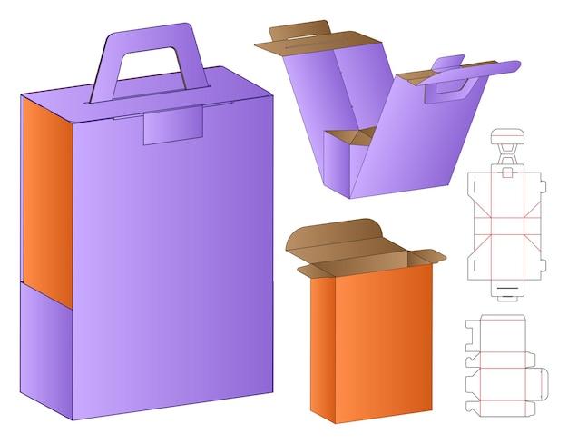 Коробка упаковка высечки шаблон дизайна 3d макет