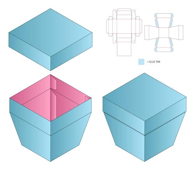 상자 포장 다이 컷 템플릿 디자인 3d 모형 프리미엄 벡터