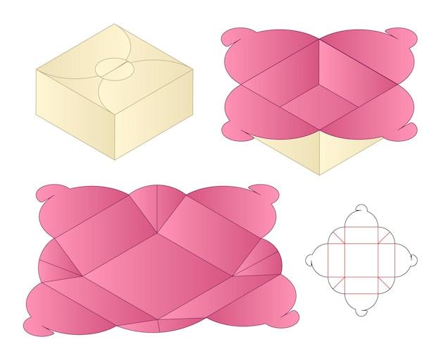 Box packaging die cut template design 3d mockup