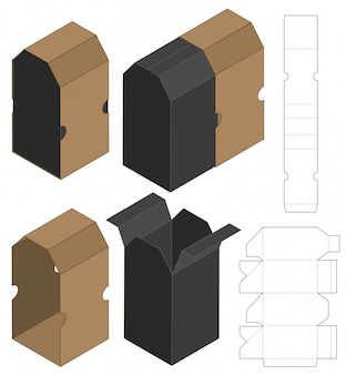 Box packaging die cut template design. 3d
