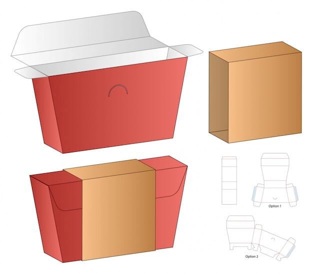 Коробка упаковки высечки шаблон дизайна. 3d
