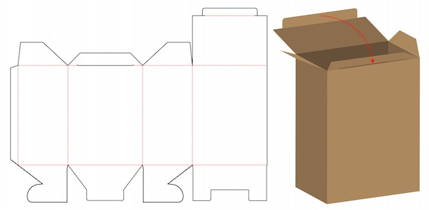 Box packaging die cut template design
