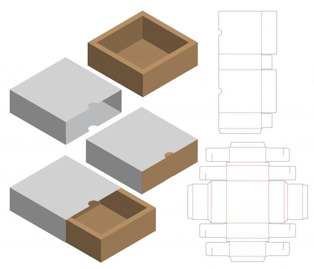 상자 포장 다이 컷 템플릿 디자인 프리미엄 벡터