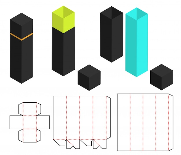 Box packaging die cut template design