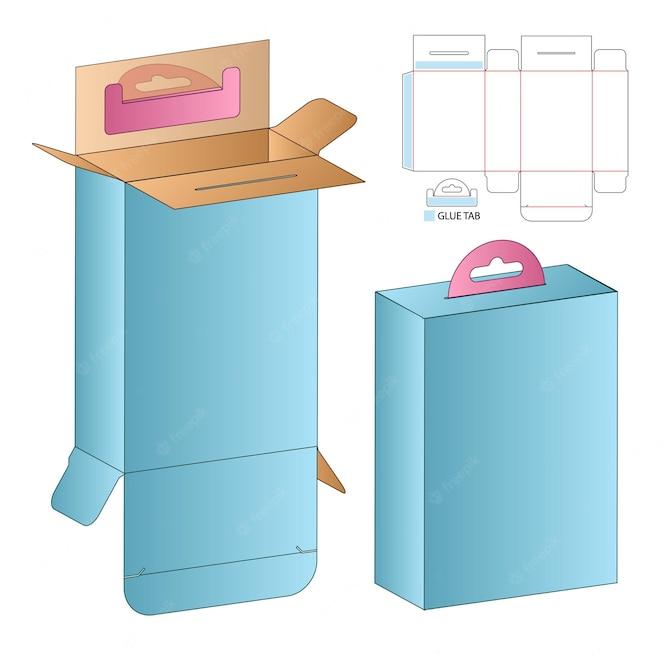 ボックスパッケージのダイカットテンプレートデザイン