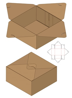 Box packaging die cut template for print