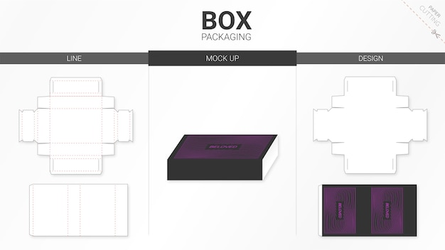 Box packaging and   die cut template