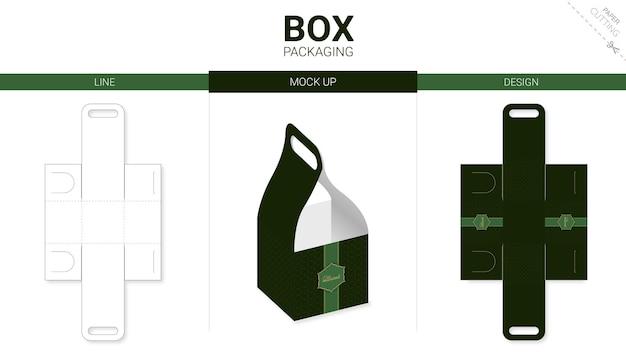 Box packaging and die cut template
