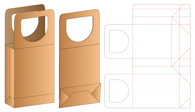 Box packaging die cut template