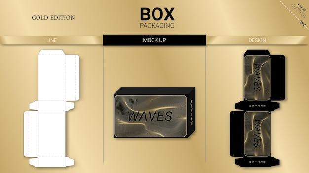 ボックス包装ゴールドエディションとモックアップダイカットテンプレート