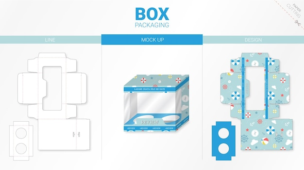 Box packaging and moackup die cut template