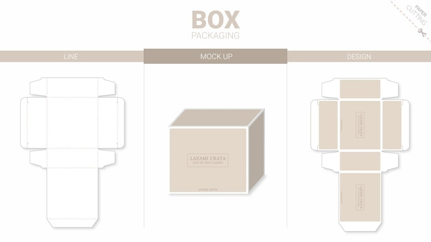 Box packaging and mockup die cut template