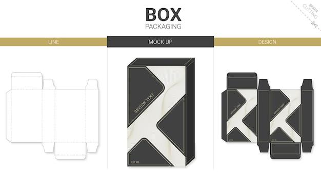 ボックス包装レトロとモックアップダイカットテンプレート