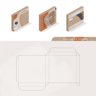 Коробка, шаблон упаковки и шаблон высечки для продукта, брендирование. векторная иллюстрация дизайна. Premium векторы