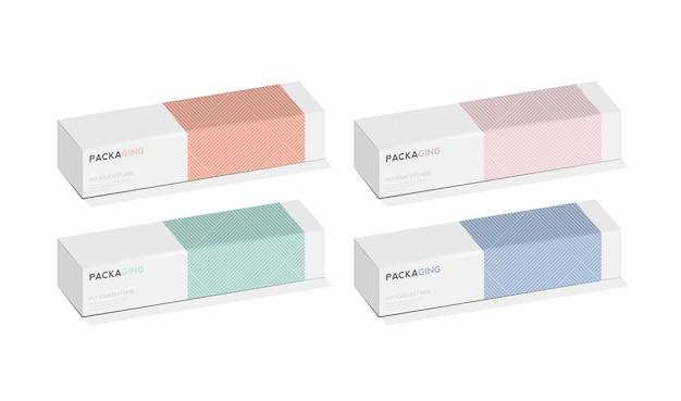 ボックス、製品ベクトルデザインイラストのパッケージテンプレート。 Premiumベクター