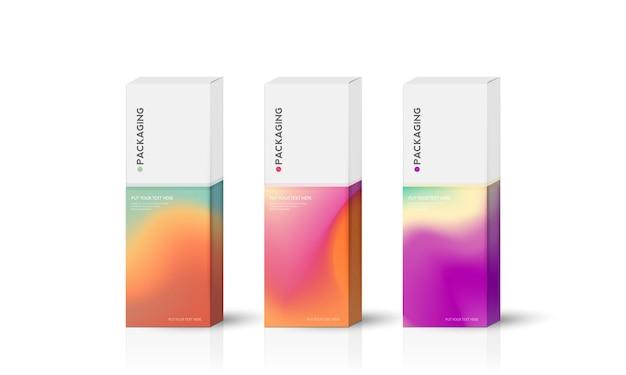 ボックス、製品ベクトルデザインイラストのパッケージテンプレート。