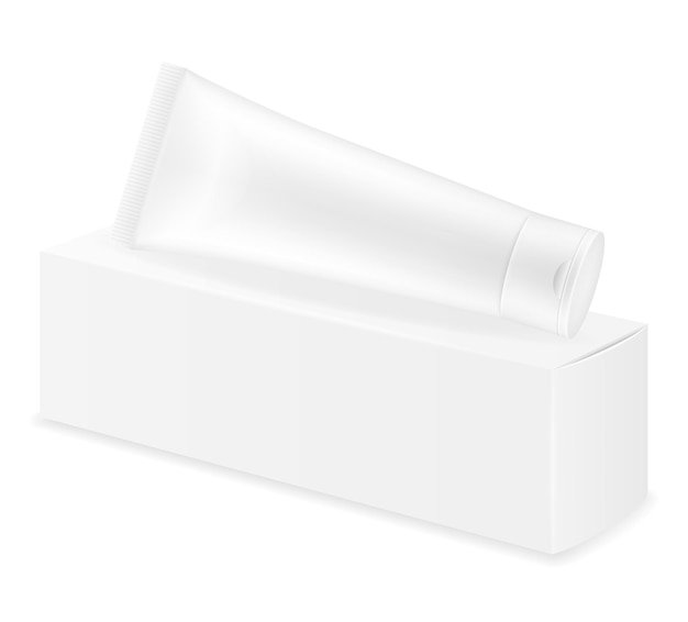 Box packaging and tube of toothpaste empty template