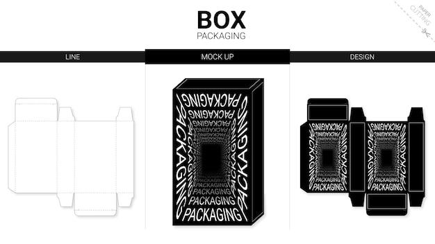 ボックスパッケージのタイポグラフィとモックアップダイカットテンプレート