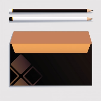 Box and pencil, corporate identity template on white