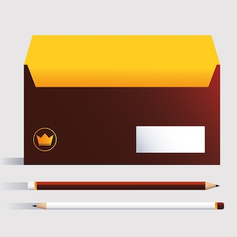 Box and pencils, corporate identity template on white background illustration