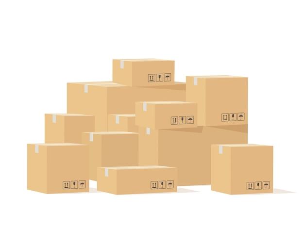Коробка куча. картонные коробки разного размера с хрупкими знаками, картонная упаковка для доставки товаров, складское хранение грузов, промышленные отгрузки, концепция доставки векторных изолированных