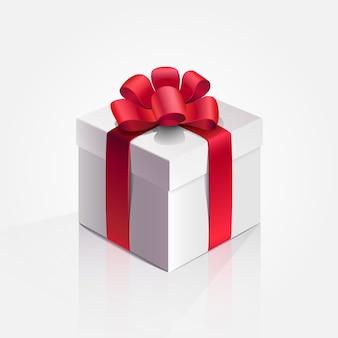 Box present holiday red ribbon illustration