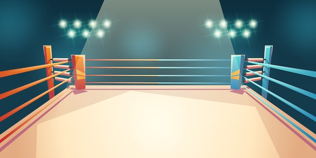 Box ring, arena for sports fighting cartoon illustration