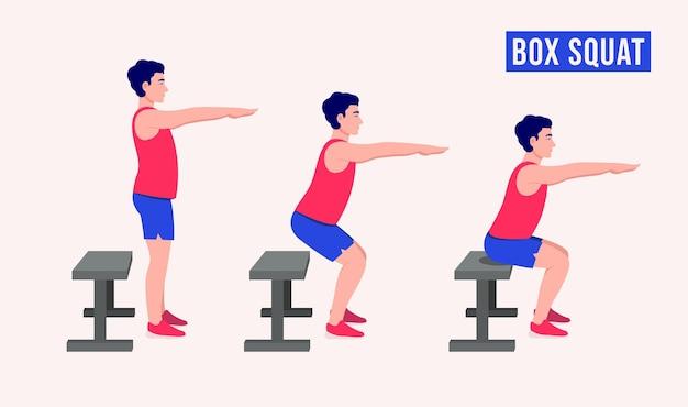 Приседания на ящик упражнение для мужчин тренировка фитнеса аэробика и упражнения