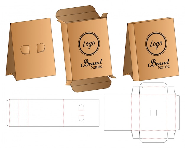 Box stand packaging die cut template design.