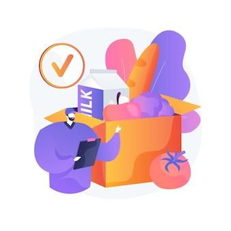 상자 구독 서비스 추상적 인 개념 그림입니다. 구독 계획, 전자 상거래 비즈니스, 쇼핑 서비스, 상자 배달 시작, 인터넷 마케팅, 시장