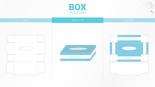 Box tissue packaging and die cut template