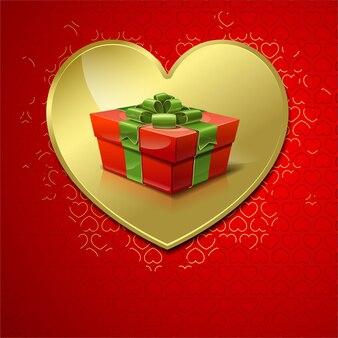 Коробка с подарком на фоне золотых сердечек на день святого валентина