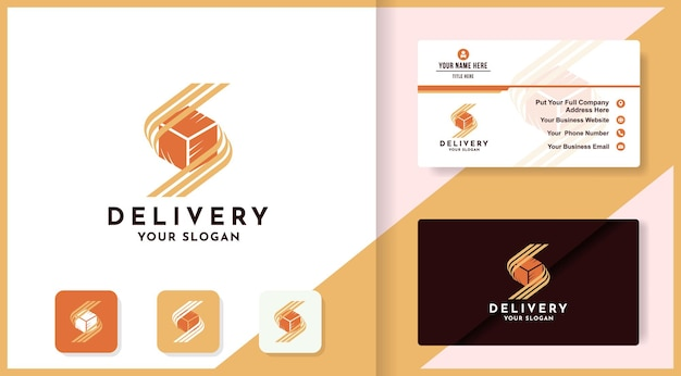 Box with abstract letter s logo design and business card