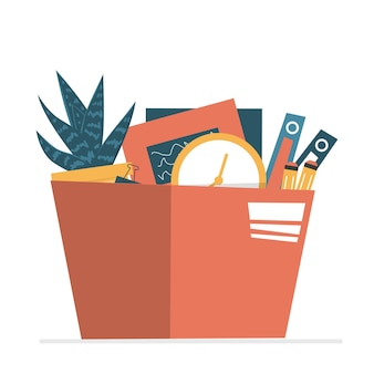 Box with belongings of dismissed employee