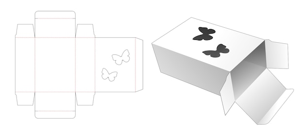 Box with butterfly shaped window die cut template