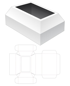 Box with chest shaped lid die cut template
