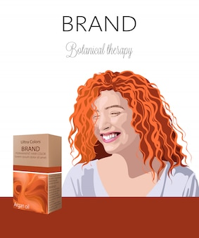 텍스트에 대 한 장소를 가진 머리를위한 화장품 상자. 백그라운드에서 웃는 곱슬 생강 여자 식물 치료. 당신의 브랜드