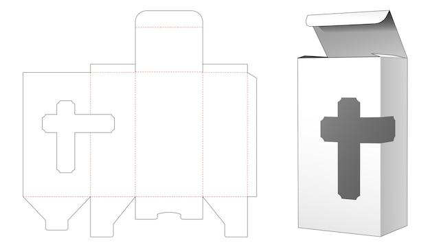 Box with cross window die cut template