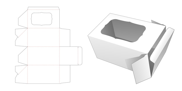 Box with curve rectangular window die cut template