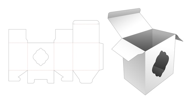 Box with curve window die cut template