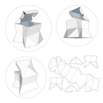Коробка с высеченным шаблоном. упаковочная коробка для продуктов питания, подарков или других продуктов. на белом фоне изолированы. готов для вашего дизайна. eps10 вектор упаковки продукта.