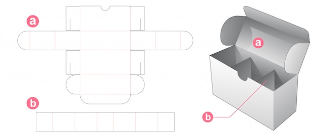 Box with insert divider die cut template