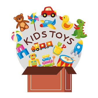 Box with kids toys icons
