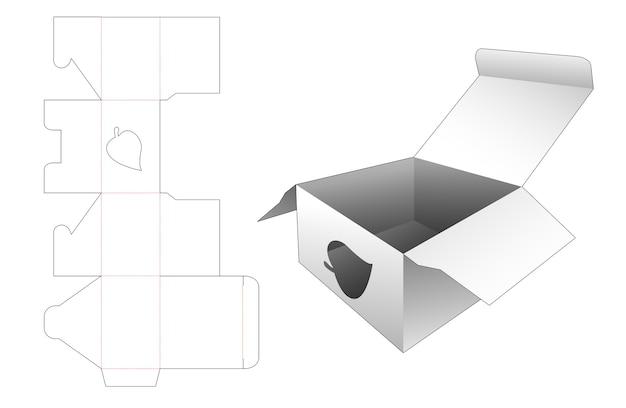 葉の形をした窓付きボックスダイカットテンプレート