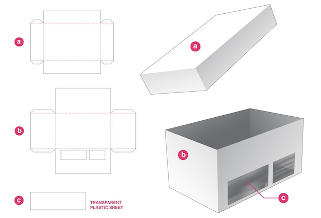 透明なプラスチックシートダイカットテンプレートが付いているふたおよび窓が付いている箱