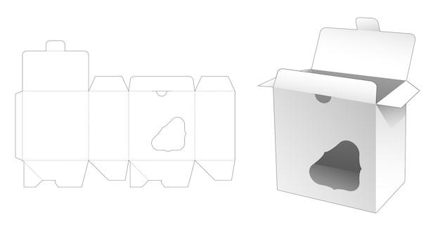 ロックされたポイントと表示ウィンドウのダイカットテンプレート付きボックス